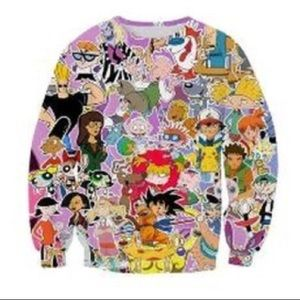•MAKE OFFER• NWOT 90s CARTOON CHARACTERS PULLOVER